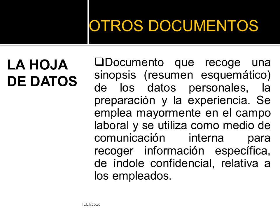 OTROS DOCUMENTOS LA HOJA DE DATOS