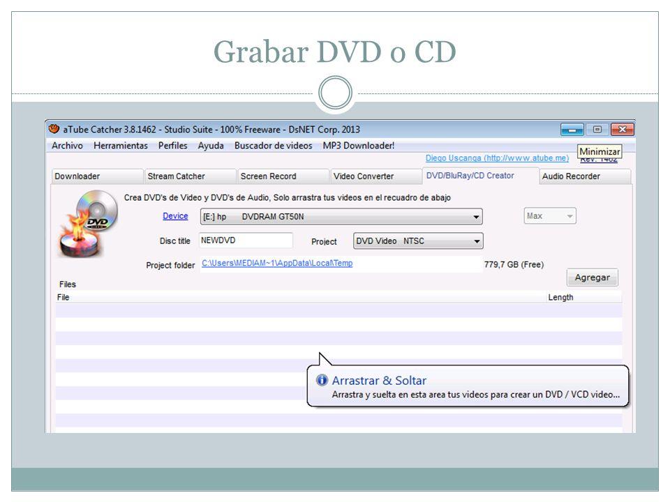 Grabar DVD o CD