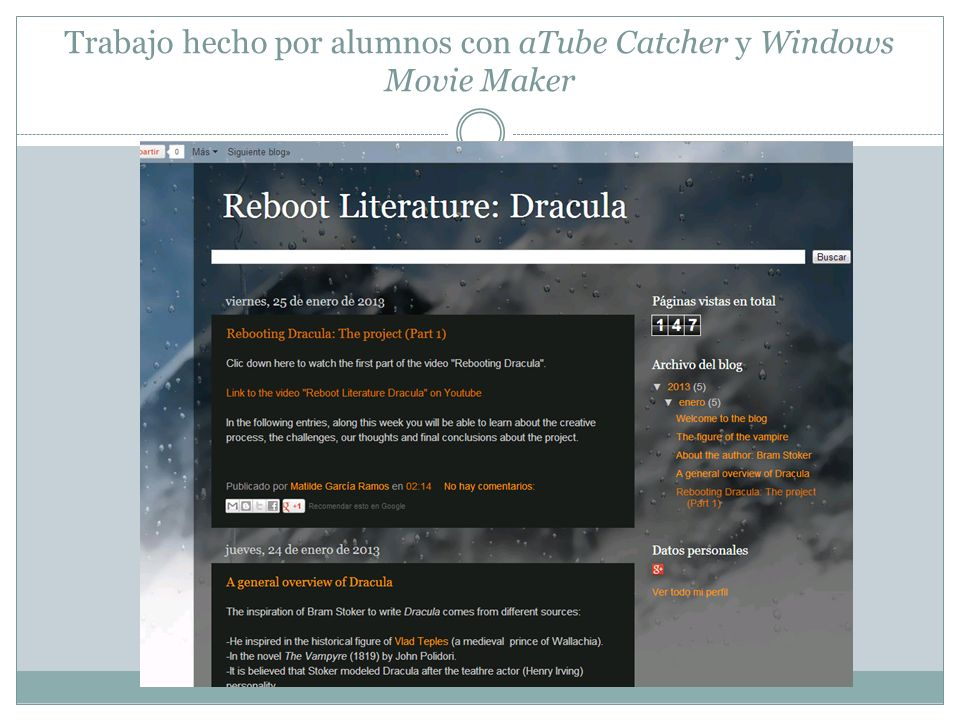 Trabajo hecho por alumnos con aTube Catcher y Windows Movie Maker