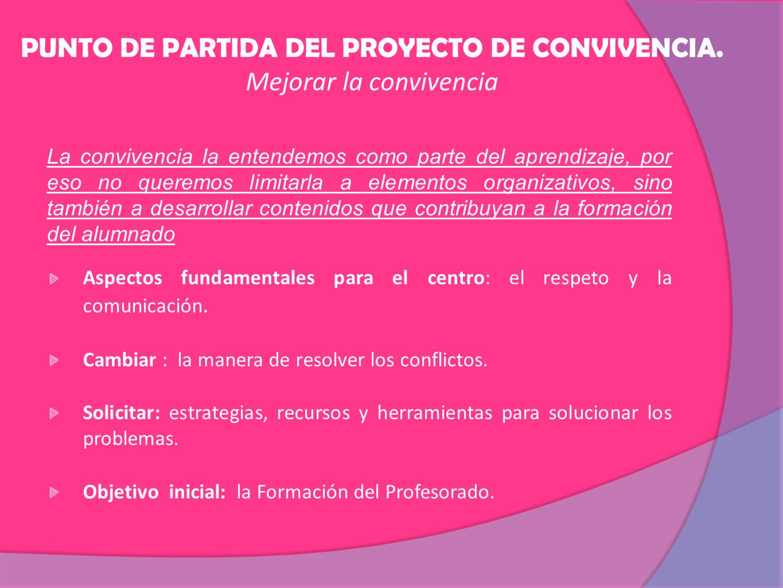 PUNTO DE PARTIDA DEL PROYECTO DE CONVIVENCIA. Mejorar la convivencia
