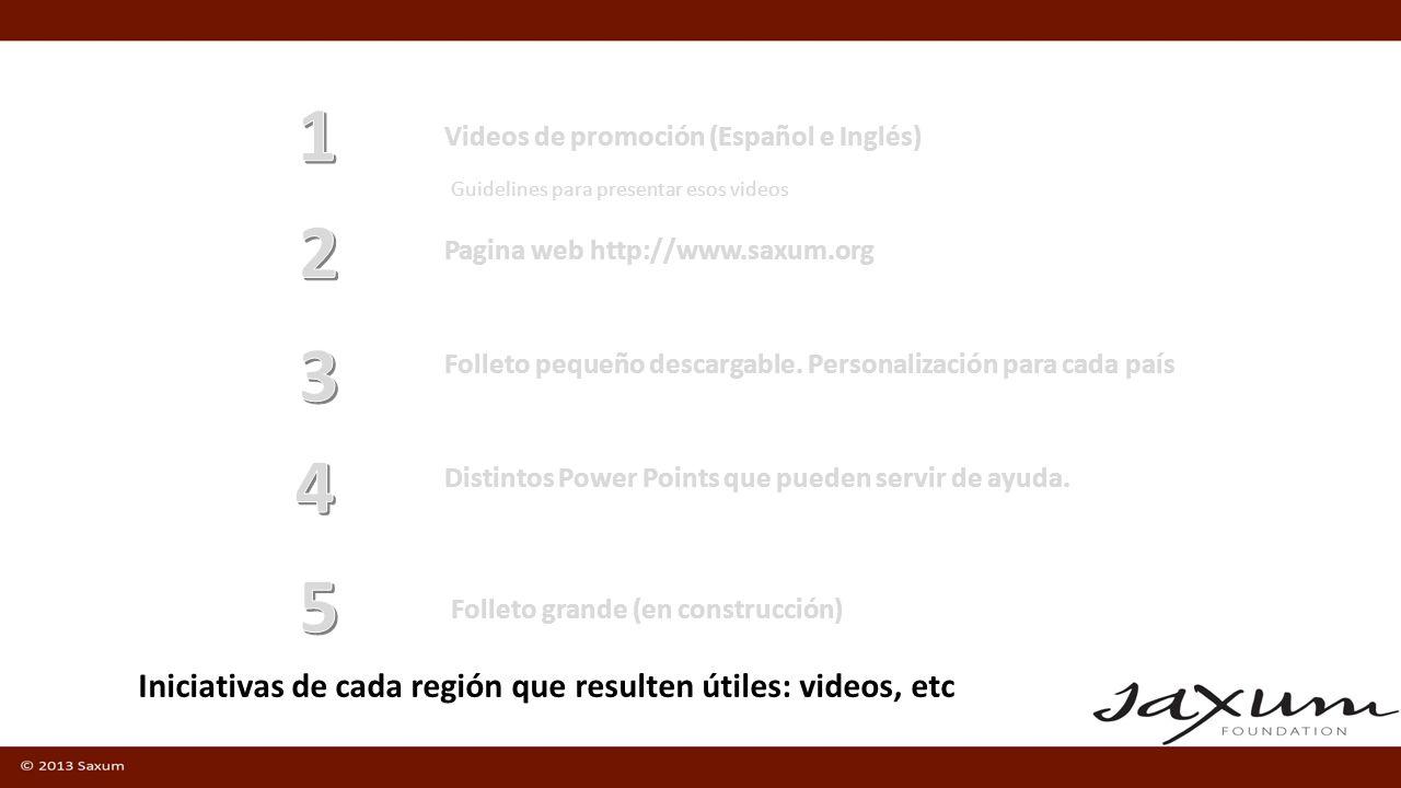 1 2 3 4 5 Iniciativas de cada región que resulten útiles: videos, etc