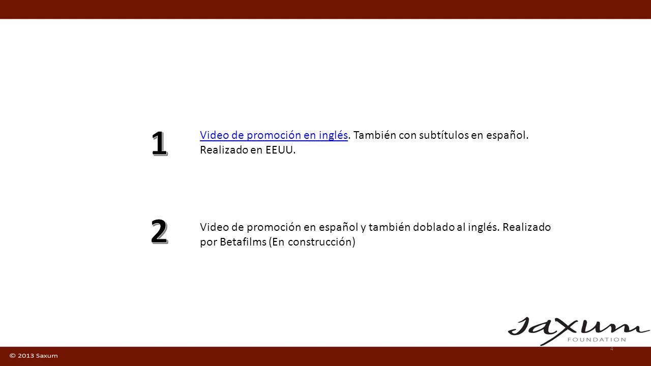 1 Video de promoción en inglés. También con subtítulos en español. Realizado en EEUU.