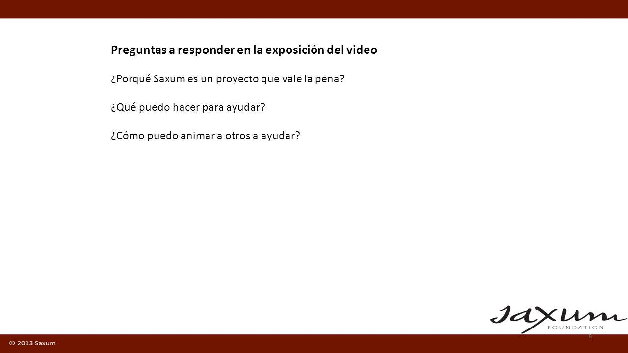 Preguntas a responder en la exposición del video