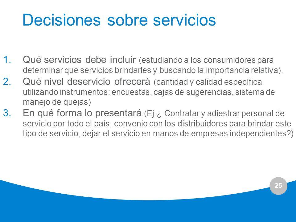 Decisiones sobre servicios