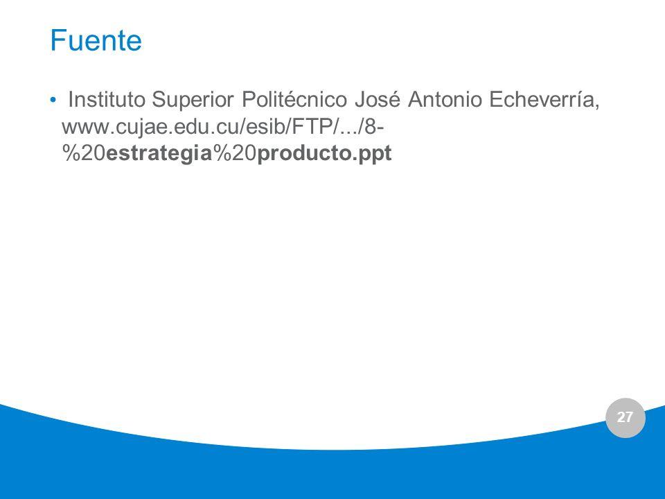 Fuente Instituto Superior Politécnico José Antonio Echeverría, www.cujae.edu.cu/esib/FTP/.../8-%20estrategia%20producto.ppt.