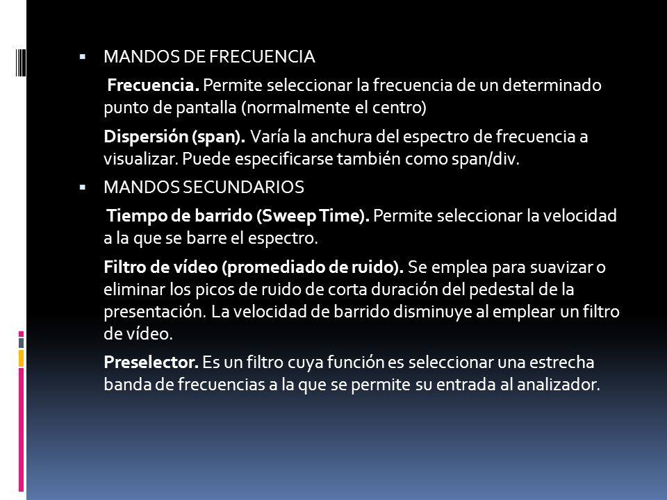 MANDOS DE FRECUENCIA Frecuencia. Permite seleccionar la frecuencia de un determinado punto de pantalla (normalmente el centro)