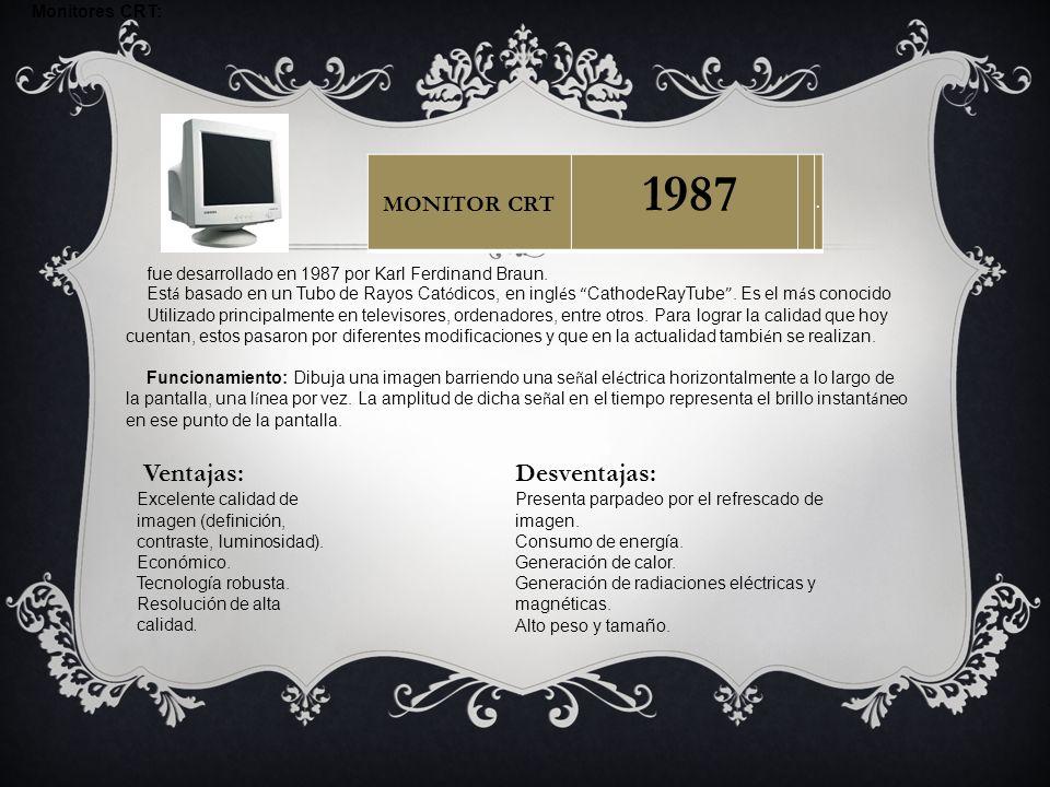 1987 Ventajas: Desventajas: MONITOR CRT Monitores CRT: