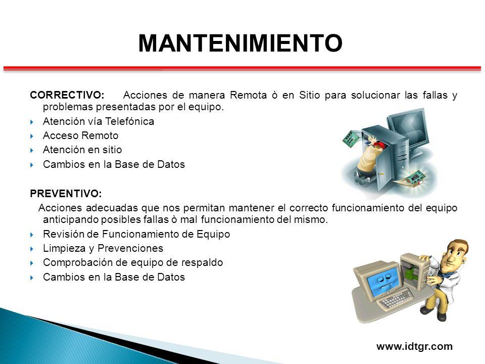 MANTENIMIENTO CORRECTIVO: Acciones de manera Remota ò en Sitio para solucionar las fallas y problemas presentadas por el equipo.