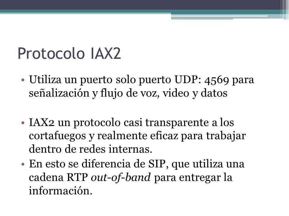 Protocolo IAX2 Utiliza un puerto solo puerto UDP: 4569 para señalización y flujo de voz, video y datos.