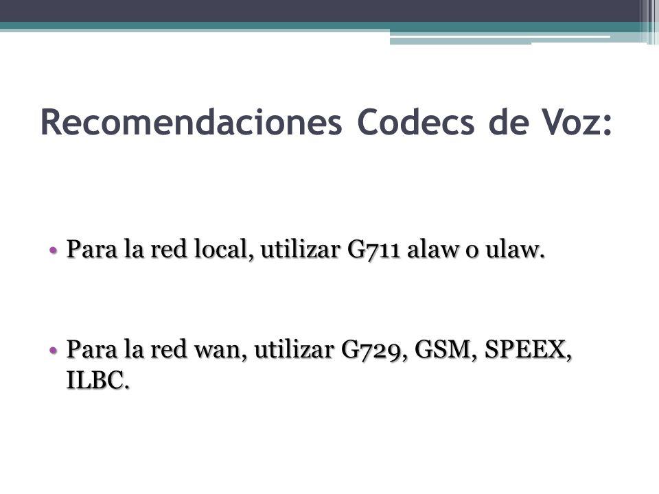 Recomendaciones Codecs de Voz: