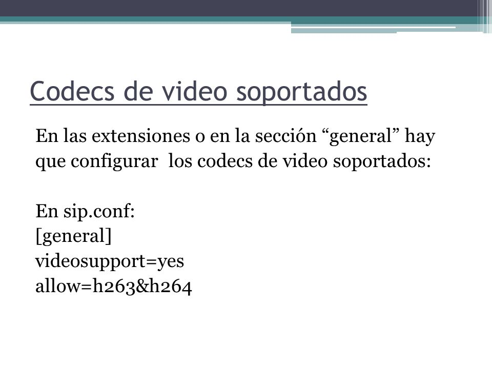 Codecs de video soportados