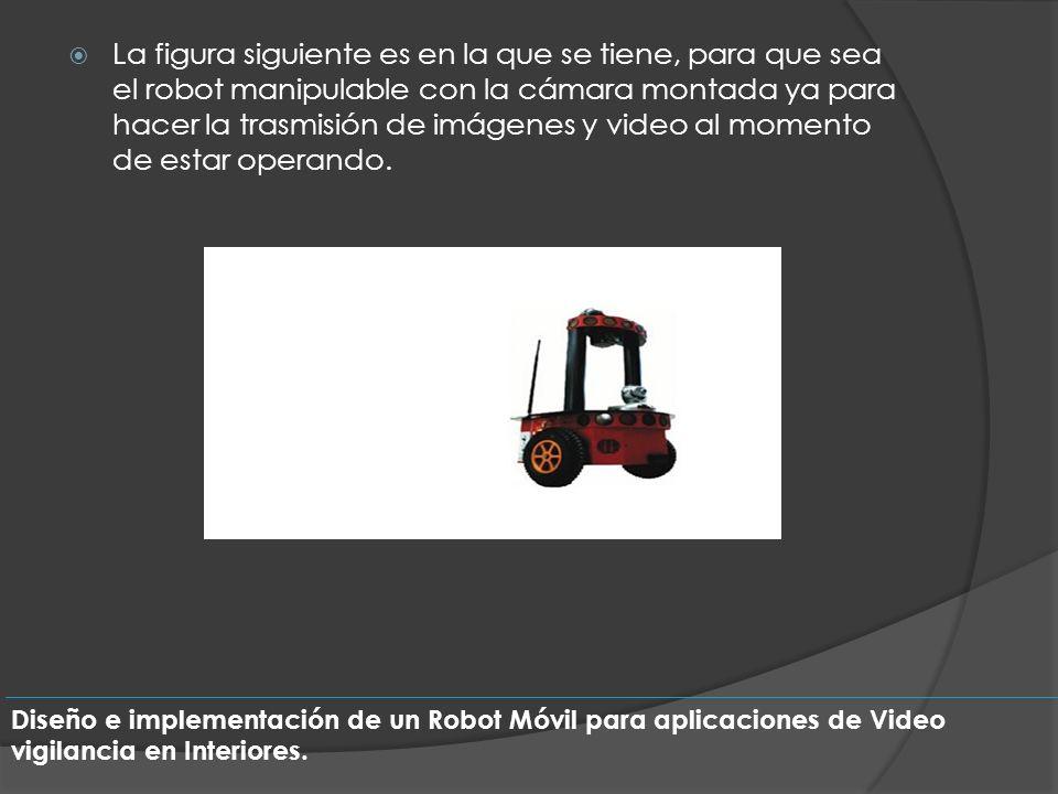 La figura siguiente es en la que se tiene, para que sea el robot manipulable con la cámara montada ya para hacer la trasmisión de imágenes y video al momento de estar operando.