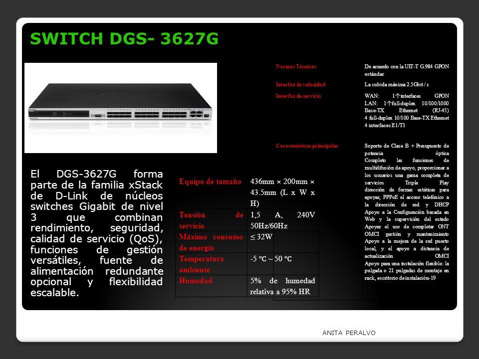 SWITCH DGS- 3627G Normas Técnicas. De acuerdo con la UIT-T G.984 GPON estándar. Interfaz de velocidad.