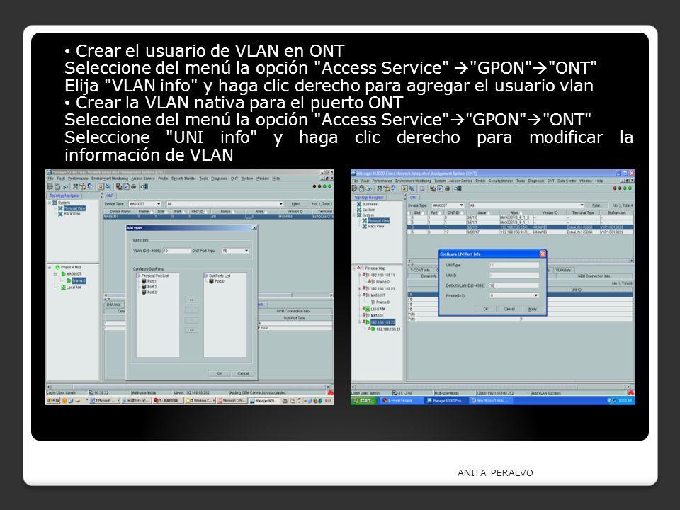 Crear el usuario de VLAN en ONT