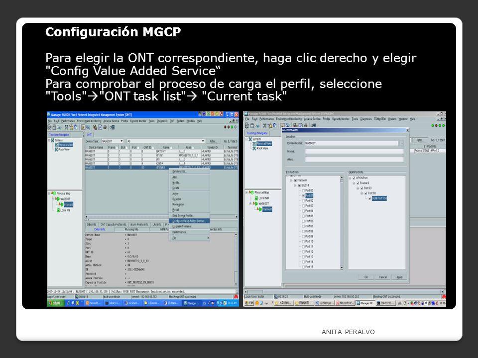 Configuración MGCP Para elegir la ONT correspondiente, haga clic derecho y elegir Config Value Added Service