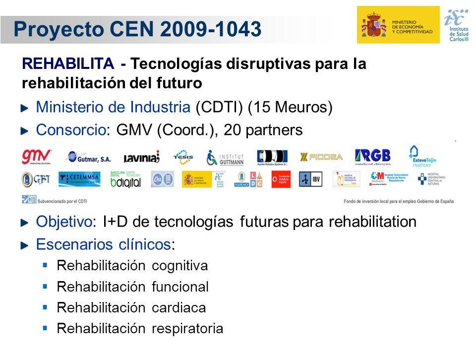 Proyecto CEN 2009-1043 REHABILITA - Tecnologías disruptivas para la rehabilitación del futuro. Ministerio de Industria (CDTI) (15 Meuros)