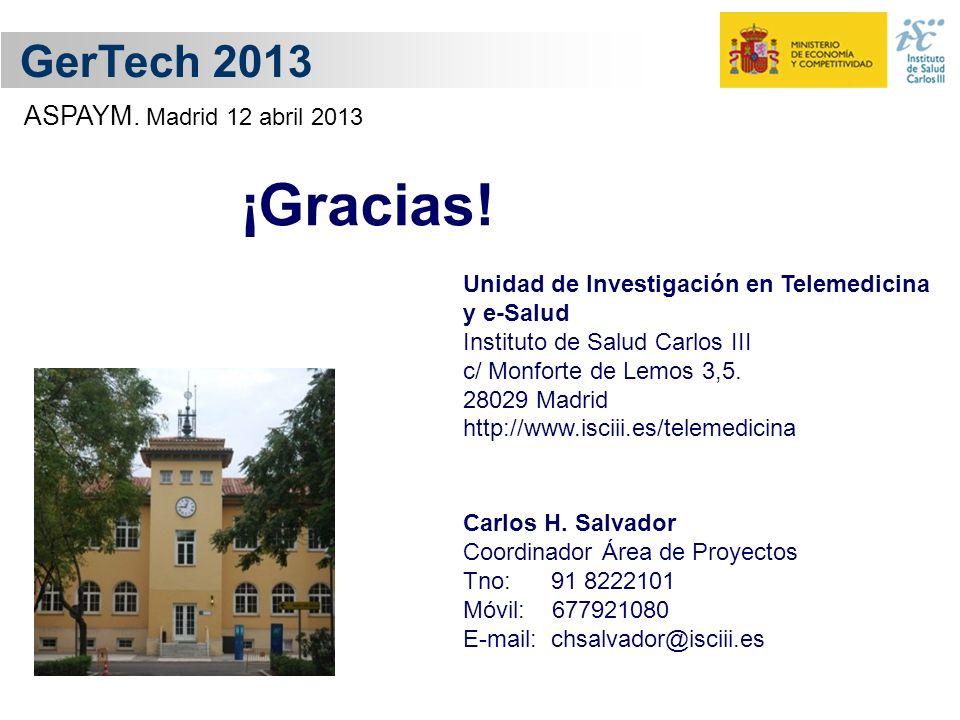 ¡Gracias! GerTech 2013 ASPAYM. Madrid 12 abril 2013