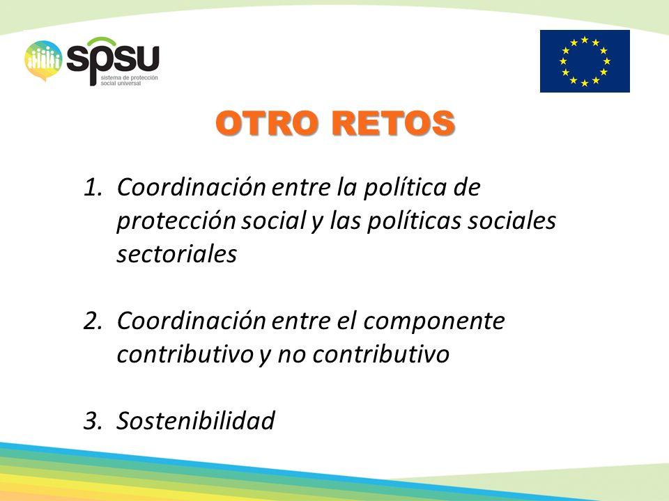 Otro retos Coordinación entre la política de protección social y las políticas sociales sectoriales.