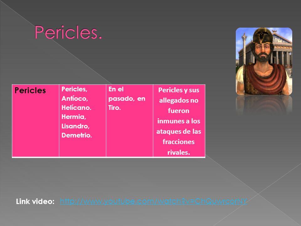 Pericles. Pericles. Pericles, Antíoco, Helícano. Hermia, Lisandro, Demetrio. En el pasado, en Tiro.