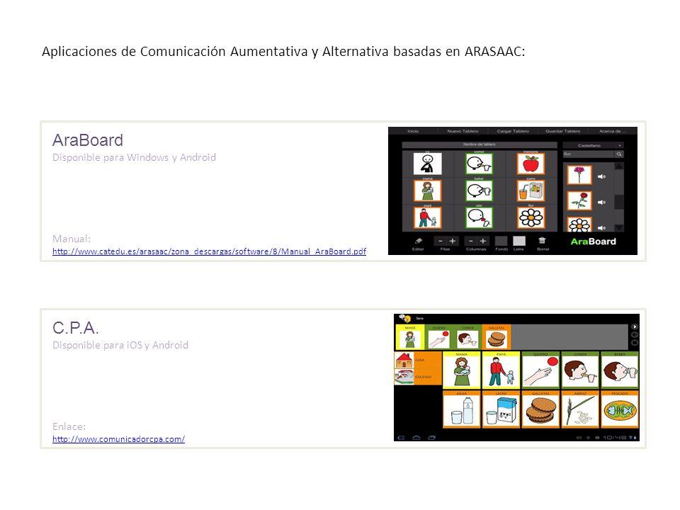 Aplicaciones de Comunicación Aumentativa y Alternativa basadas en ARASAAC: