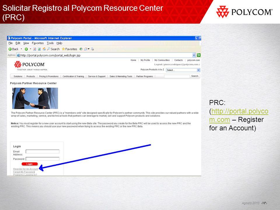 Solicitar Registro al Polycom Resource Center (PRC)