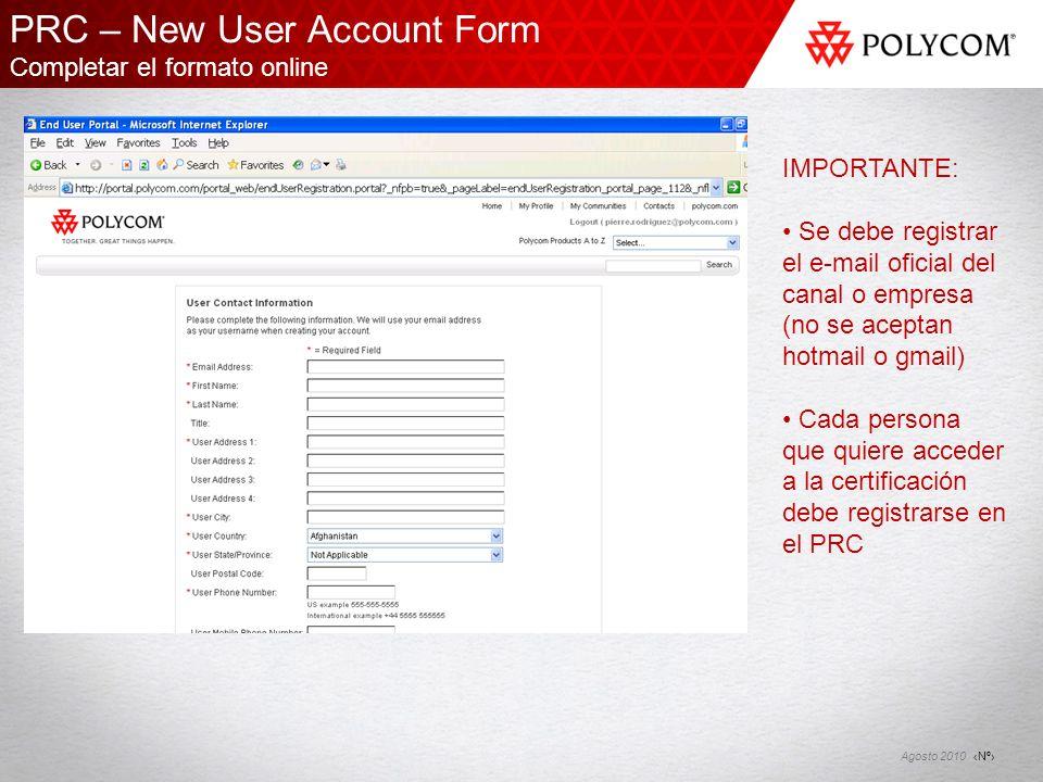 PRC – New User Account Form Completar el formato online