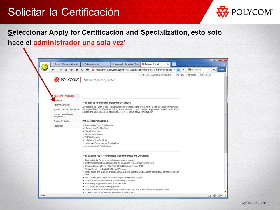Solicitar la Certificación Seleccionar Apply for Certificacion and Specialization, esto solo hace el administrador una sola vez'