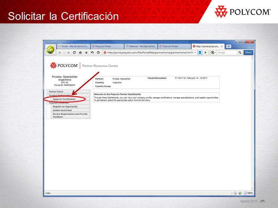Solicitar la Certificación