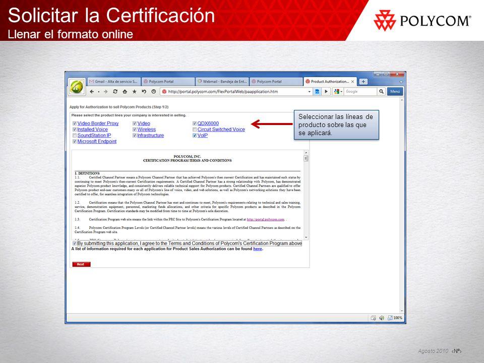 Solicitar la Certificación Llenar el formato online