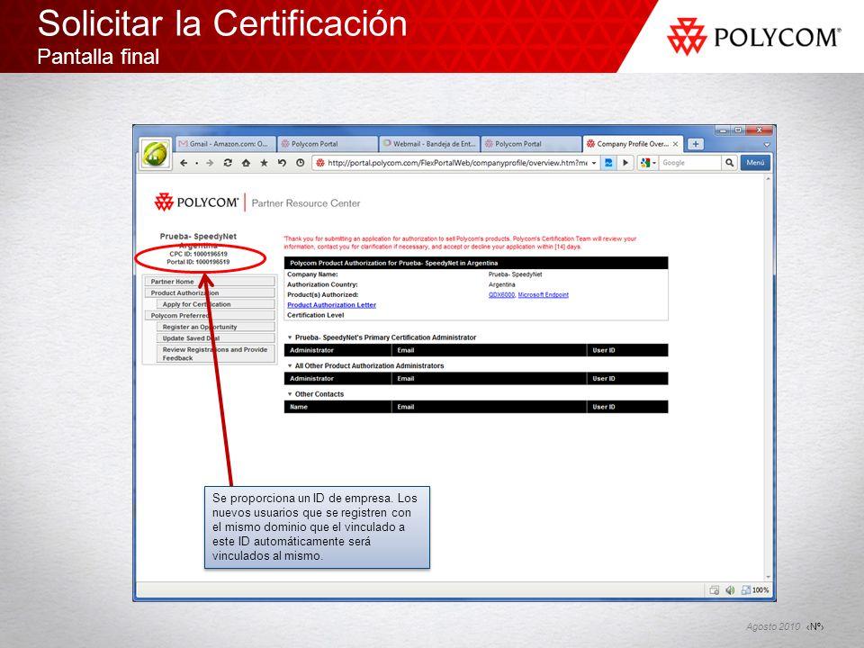 Solicitar la Certificación Pantalla final