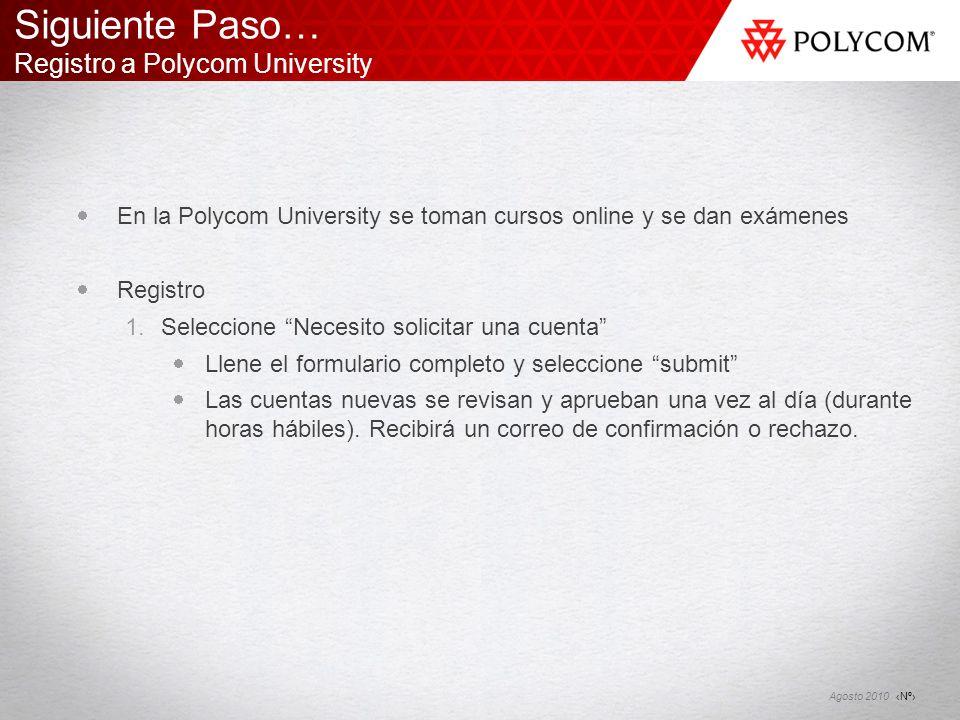 Siguiente Paso… Registro a Polycom University