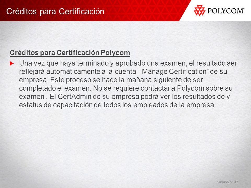 Créditos para Certificación