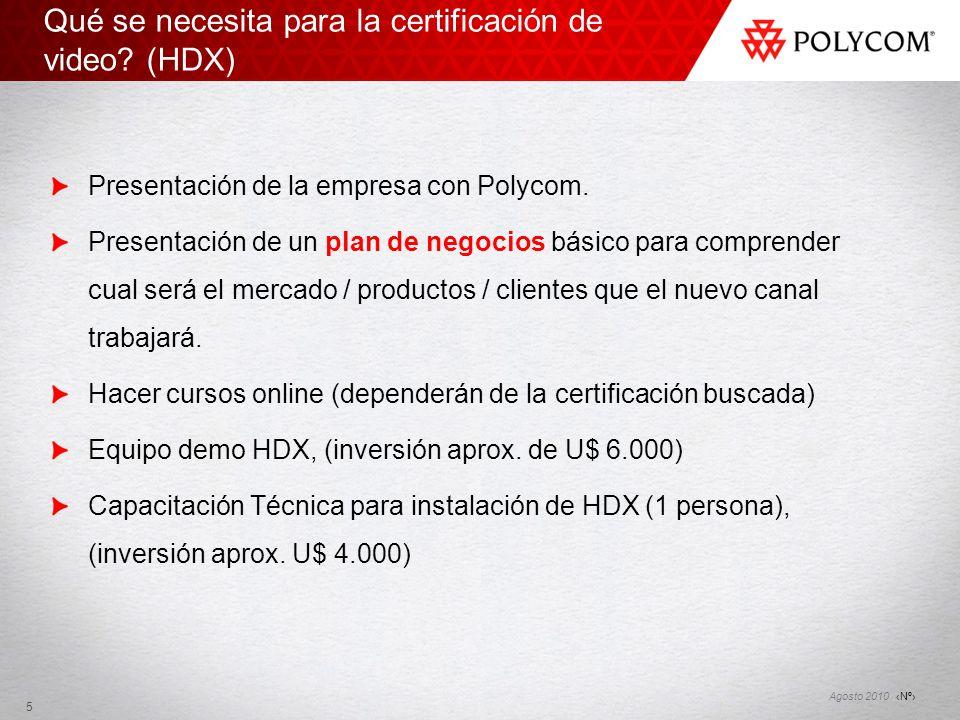 Qué se necesita para la certificación de video (HDX)