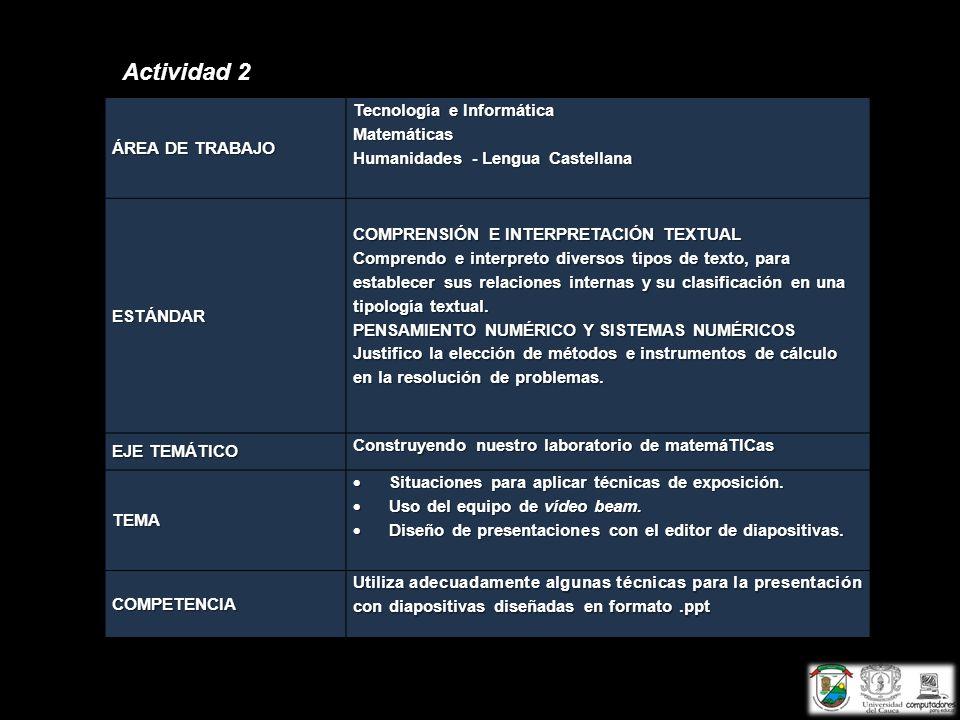 Actividad 2 ÁREA DE TRABAJO Tecnología e Informática Matemáticas