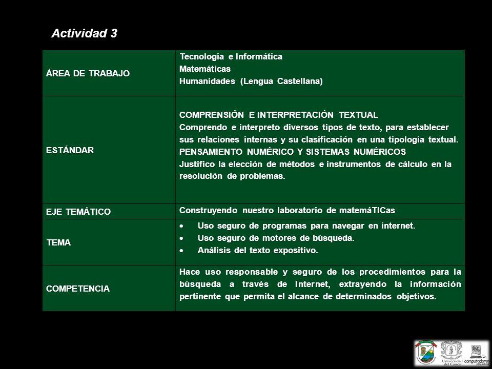 Actividad 3 ÁREA DE TRABAJO Tecnología e Informática Matemáticas