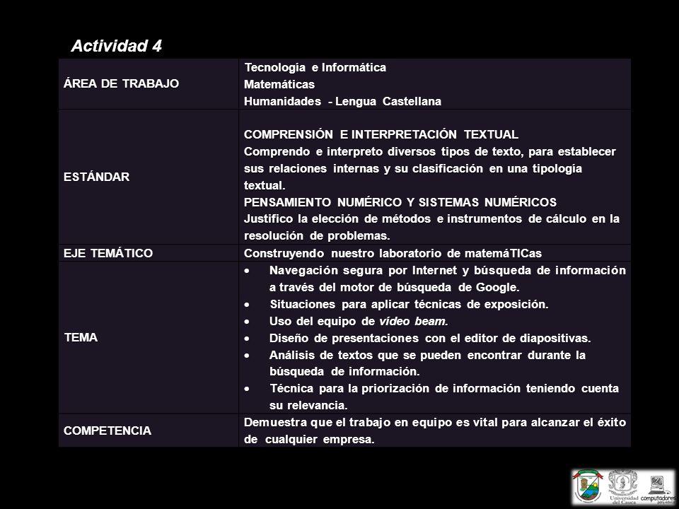 Actividad 4 ÁREA DE TRABAJO Tecnología e Informática Matemáticas