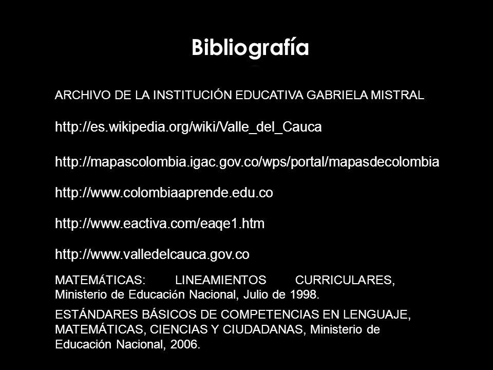 Bibliografía http://es.wikipedia.org/wiki/Valle_del_Cauca