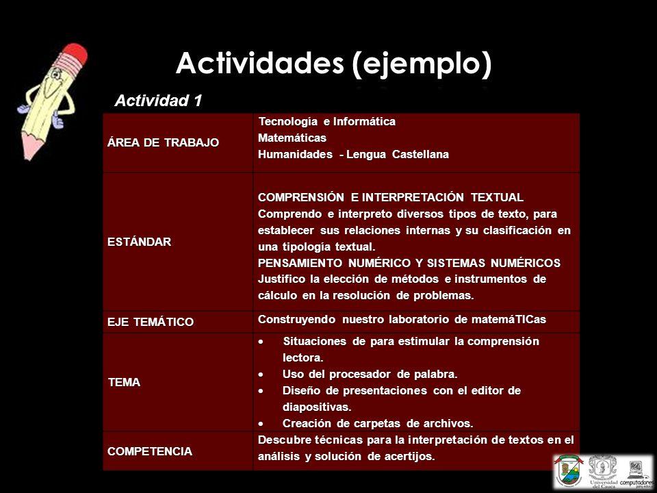 Actividades (ejemplo)