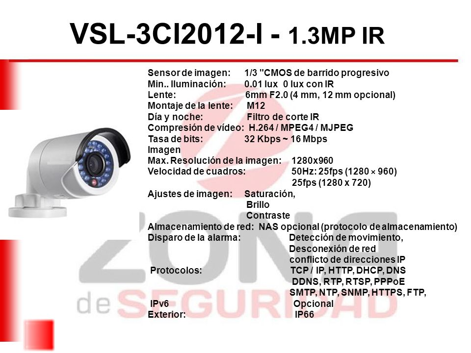 VSL-3CI2012-I - 1.3MP IR Sensor de imagen: 1/3 CMOS de barrido progresivo. Min.. Iluminación: 0.01 lux 0 lux con IR.