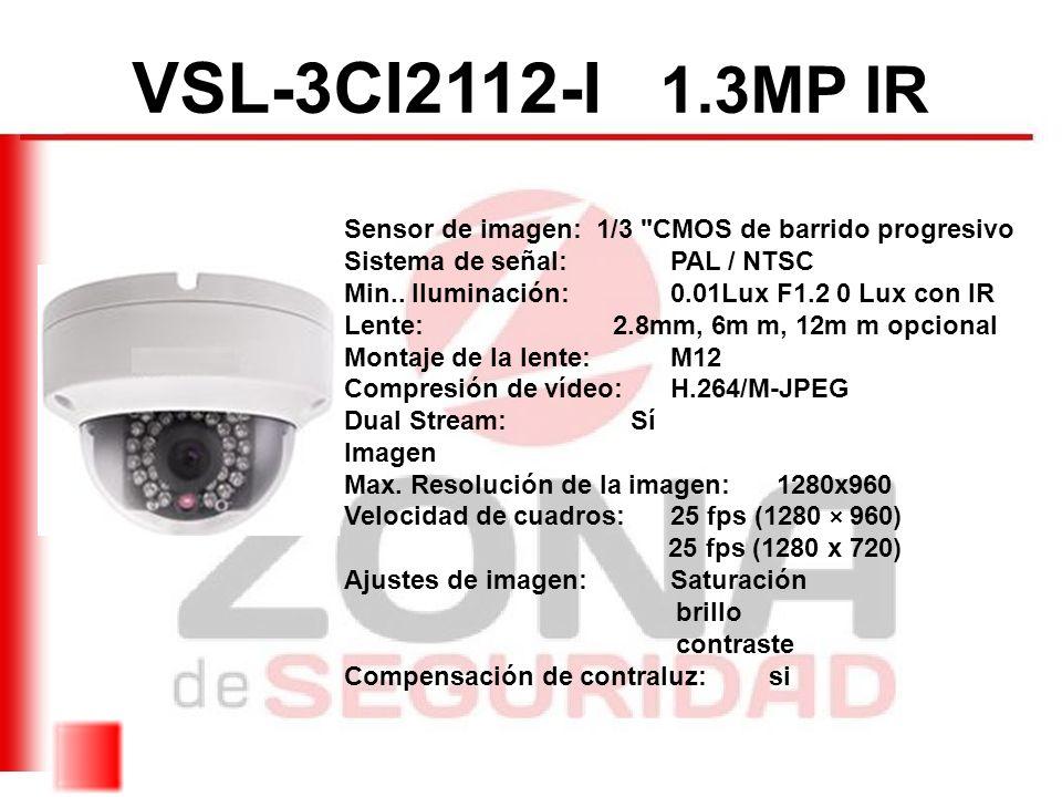 VSL-3CI2112-I 1.3MP IR Sensor de imagen: 1/3 CMOS de barrido progresivo. Sistema de señal: PAL / NTSC.