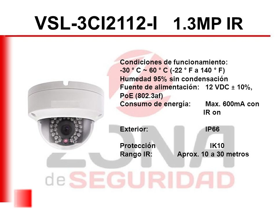 VSL-3CI2112-I 1.3MP IR Condiciones de funcionamiento: