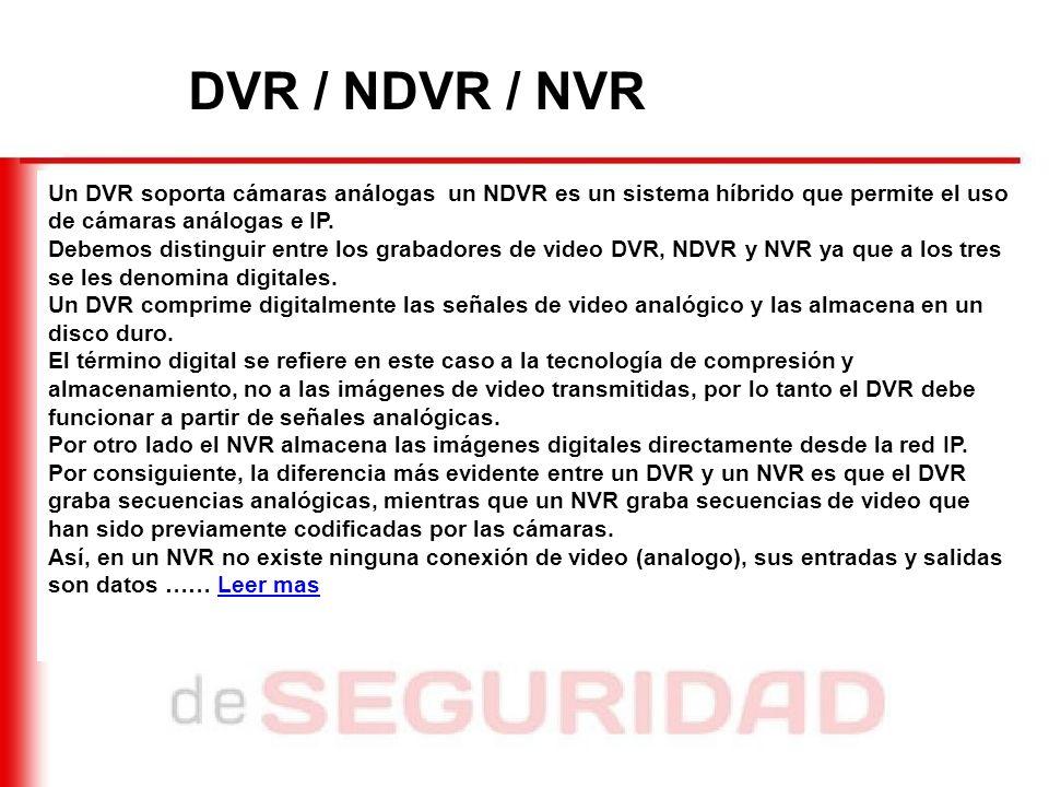 DVR / NDVR / NVR Un DVR soporta cámaras análogas un NDVR es un sistema híbrido que permite el uso de cámaras análogas e IP.