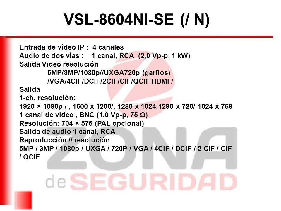 VSL-8604NI-SE (/ N) Entrada de vídeo IP : 4 canales