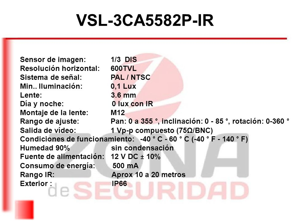 VSL-3CA5582P-IR Sensor de imagen: 1/3 DIS