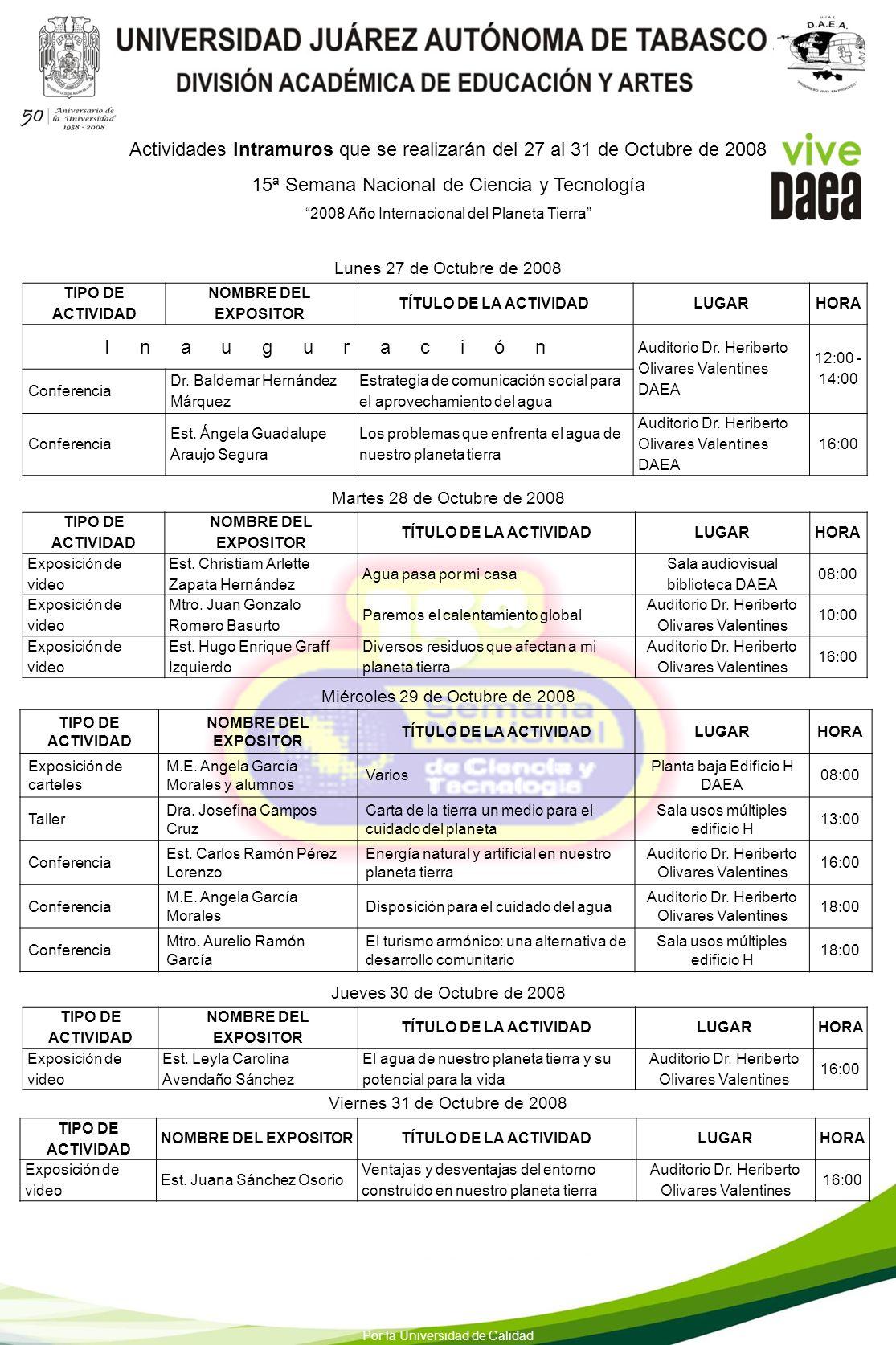 15ª Semana Nacional de Ciencia y Tecnología I n a u g u r a c i ó n