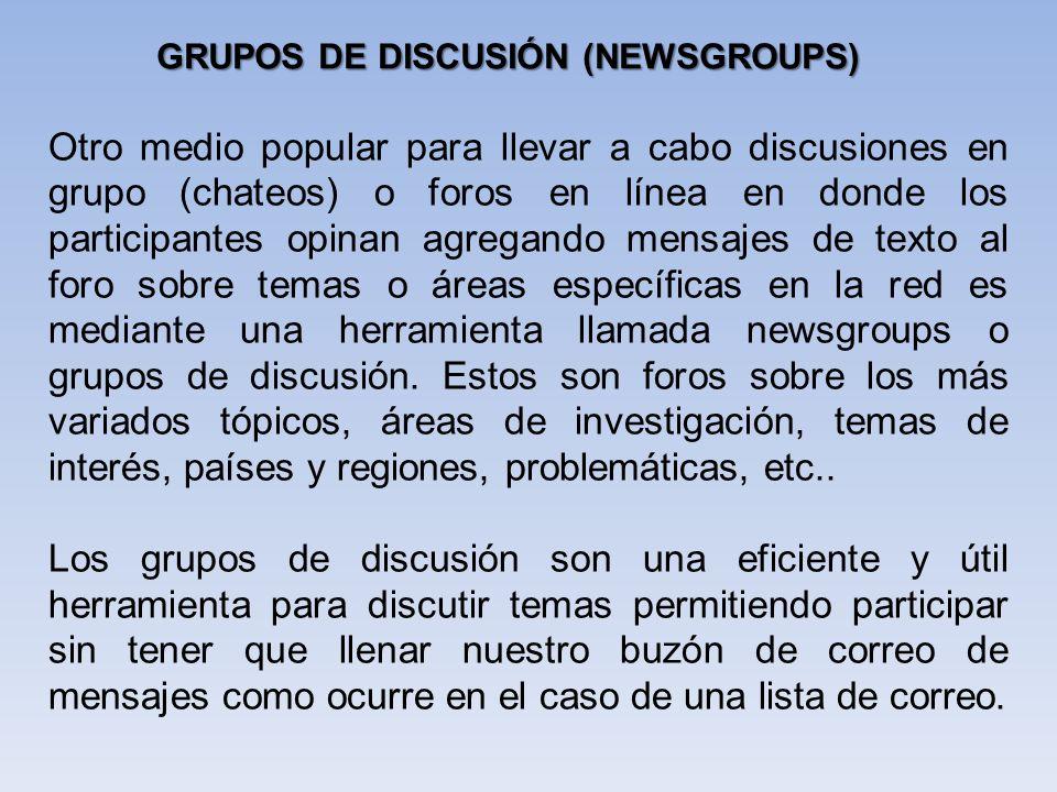 GRUPOS DE DISCUSIÓN (NEWSGROUPS)