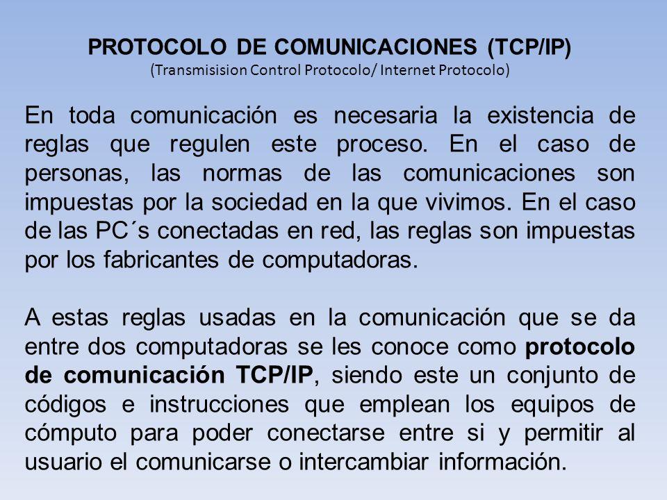 PROTOCOLO DE COMUNICACIONES (TCP/IP)