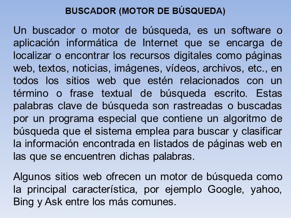 BUSCADOR (MOTOR DE BÚSQUEDA)