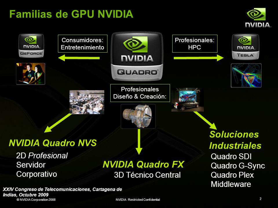 Familias de GPU NVIDIA Soluciones Industriales NVIDIA Quadro NVS