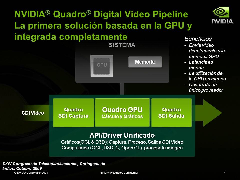 NVIDIA® Quadro® Digital Video Pipeline La primera solución basada en la GPU y integrada completamente
